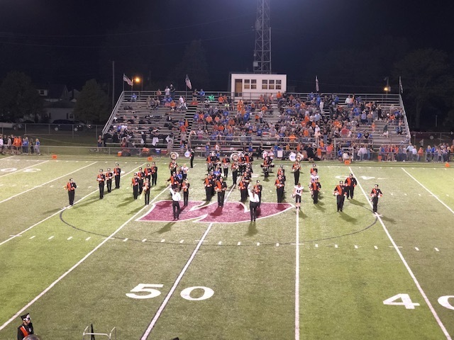 Seneca East Band performing at halftime